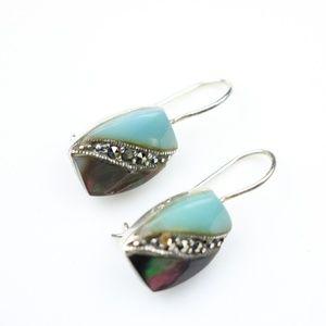 Green marcasite earrings